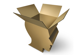 Illustration of a cardboard box in the shape of a head with the top flaps open